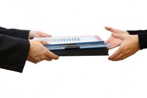 Handing File Folder, teamwork concept